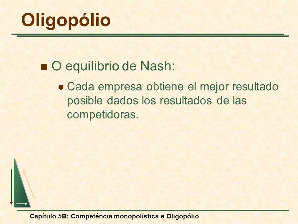 Capítulo 5B: Competéncia monopolística e Oligopólio O equilibrio de Nash: Cada empresa obtiene el mejor resultado posible dados los resultados de las