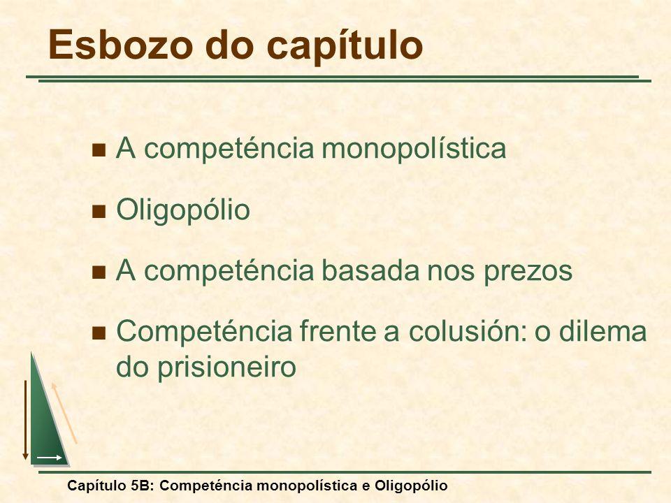 Capítulo 5B: Competéncia monopolística e Oligopólio A competéncia basada nos prezos con produtos diferenciados: As cuotas de mercado dependen no sólo de los prezos, sino también de las diferencias de diseño, rendimiento e durabilidade do produto de cada empresa.
