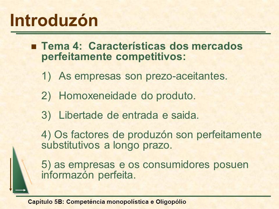 Capítulo 5B: Competéncia monopolística e Oligopólio I.- A competéncia monopolística Competencia monopolística versus competéncia perfeita: 1)As empresas non son prezo-aceitantes.