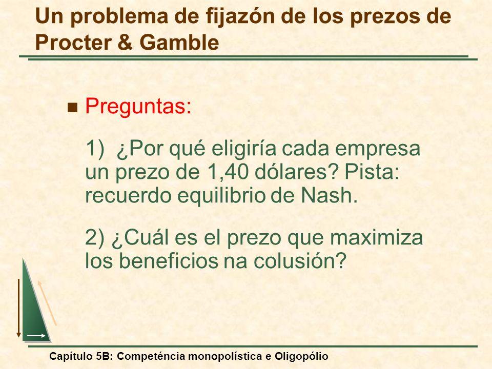 Capítulo 5B: Competéncia monopolística e Oligopólio Preguntas: 1)¿Por qué eligiría cada empresa un prezo de 1,40 dólares? Pista: recuerdo equilibrio d