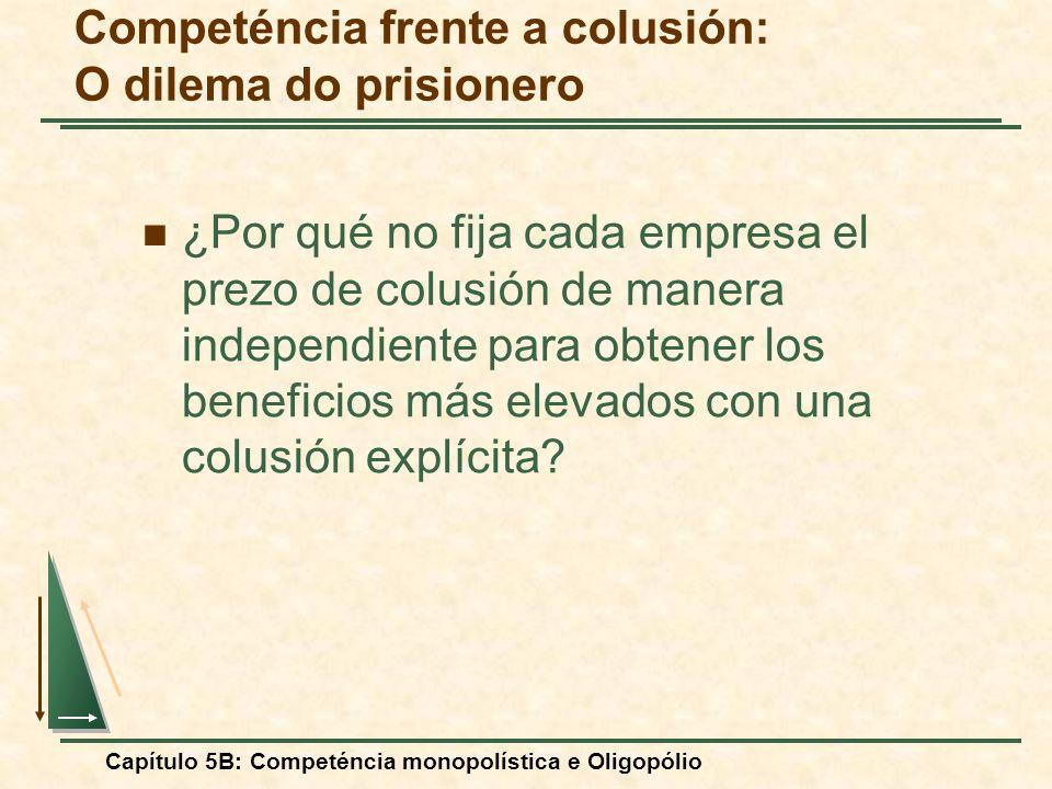 Capítulo 5B: Competéncia monopolística e Oligopólio Competéncia frente a colusión: O dilema do prisionero ¿Por qué no fija cada empresa el prezo de co