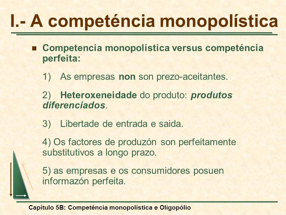Capítulo 5B: Competéncia monopolística e Oligopólio I.- A competéncia monopolística Competencia monopolística versus competéncia perfeita: 1)As empres