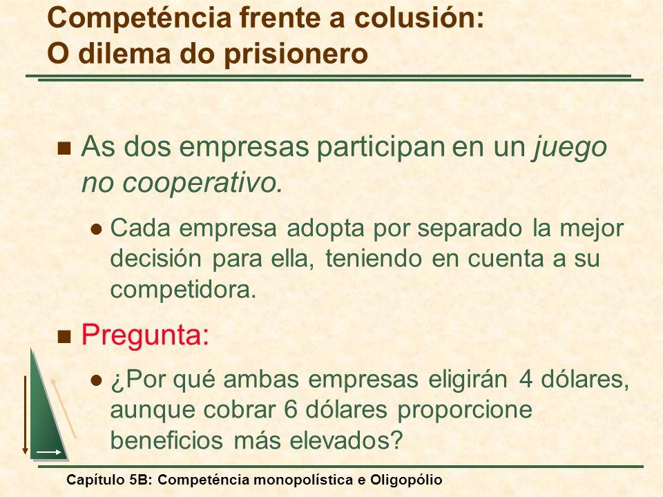 Capítulo 5B: Competéncia monopolística e Oligopólio As dos empresas participan en un juego no cooperativo. Cada empresa adopta por separado la mejor d