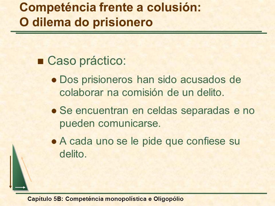 Capítulo 5B: Competéncia monopolística e Oligopólio Caso práctico: Dos prisioneros han sido acusados de colaborar na comisión de un delito. Se encuent