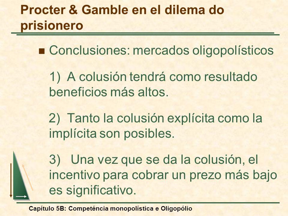 Capítulo 5B: Competéncia monopolística e Oligopólio Procter & Gamble en el dilema do prisionero Conclusiones: mercados oligopolísticos 1)A colusión te
