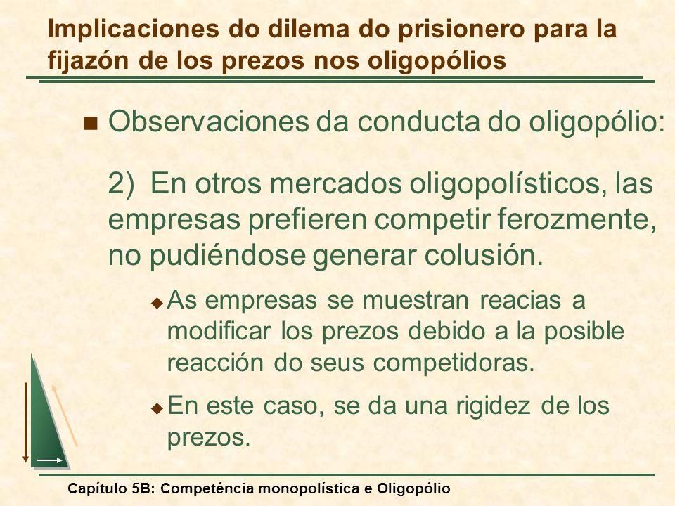 Capítulo 5B: Competéncia monopolística e Oligopólio Observaciones da conducta do oligopólio: 2)En otros mercados oligopolísticos, las empresas prefier