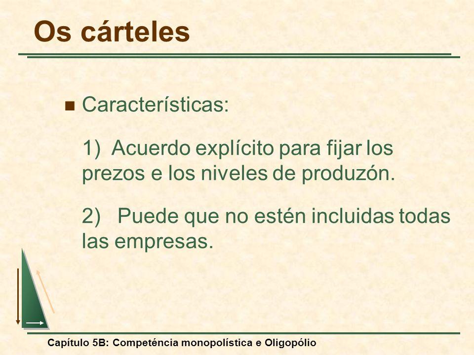 Capítulo 5B: Competéncia monopolística e Oligopólio Os cárteles Características: 1) Acuerdo explícito para fijar los prezos e los niveles de produzón.