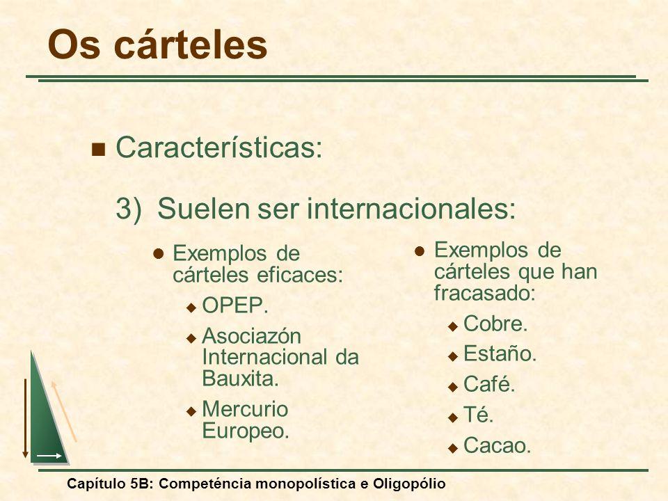 Capítulo 5B: Competéncia monopolística e Oligopólio Exemplos de cárteles eficaces: OPEP. Asociazón Internacional da Bauxita. Mercurio Europeo. Exemplo