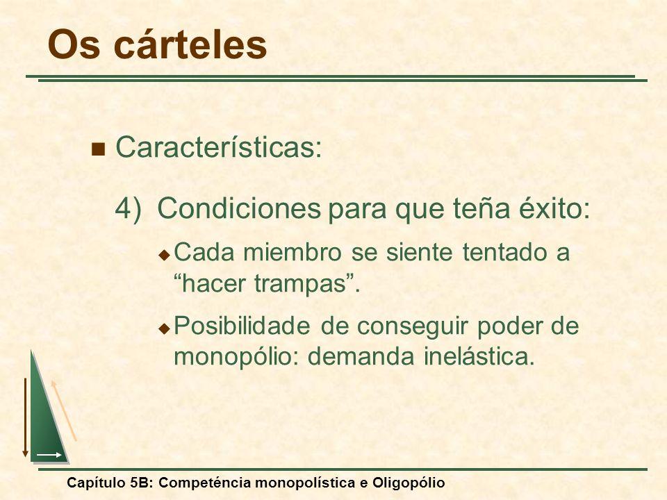Capítulo 5B: Competéncia monopolística e Oligopólio Características: 4) Condiciones para que teña éxito: Cada miembro se siente tentado a hacer trampa