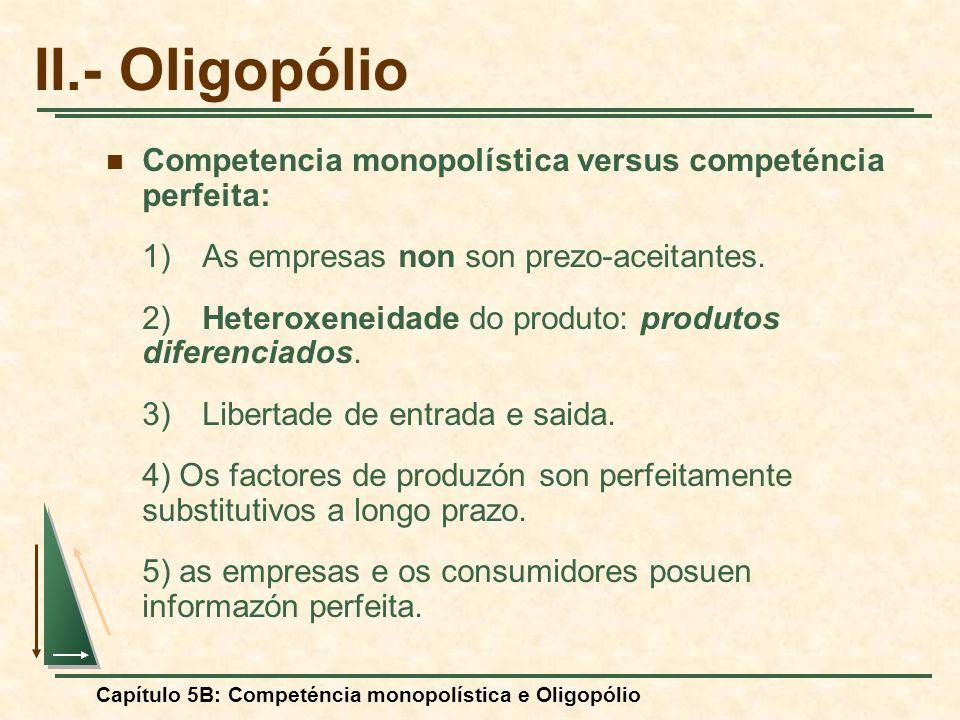 Capítulo 5B: Competéncia monopolística e Oligopólio A curva de demanda quebrada $/Q Cantidad IM D Si la empresa baja los prezos, sus competidoras harán lo mismo y la demanda será inelástica.