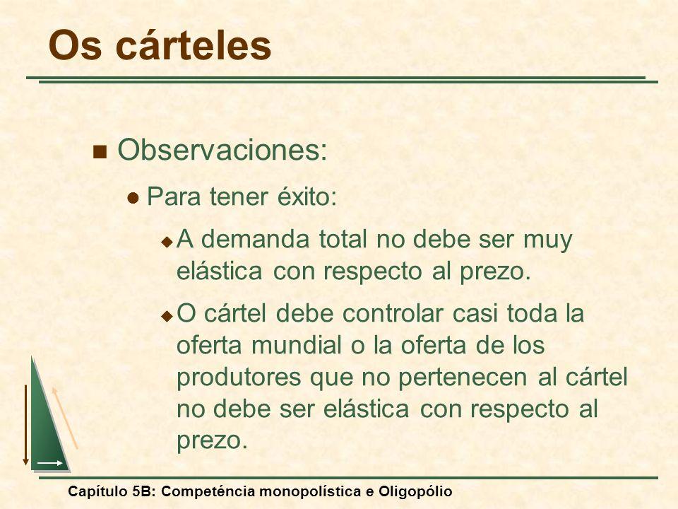 Capítulo 5B: Competéncia monopolística e Oligopólio Observaciones: Para tener éxito: A demanda total no debe ser muy elástica con respecto al prezo. O