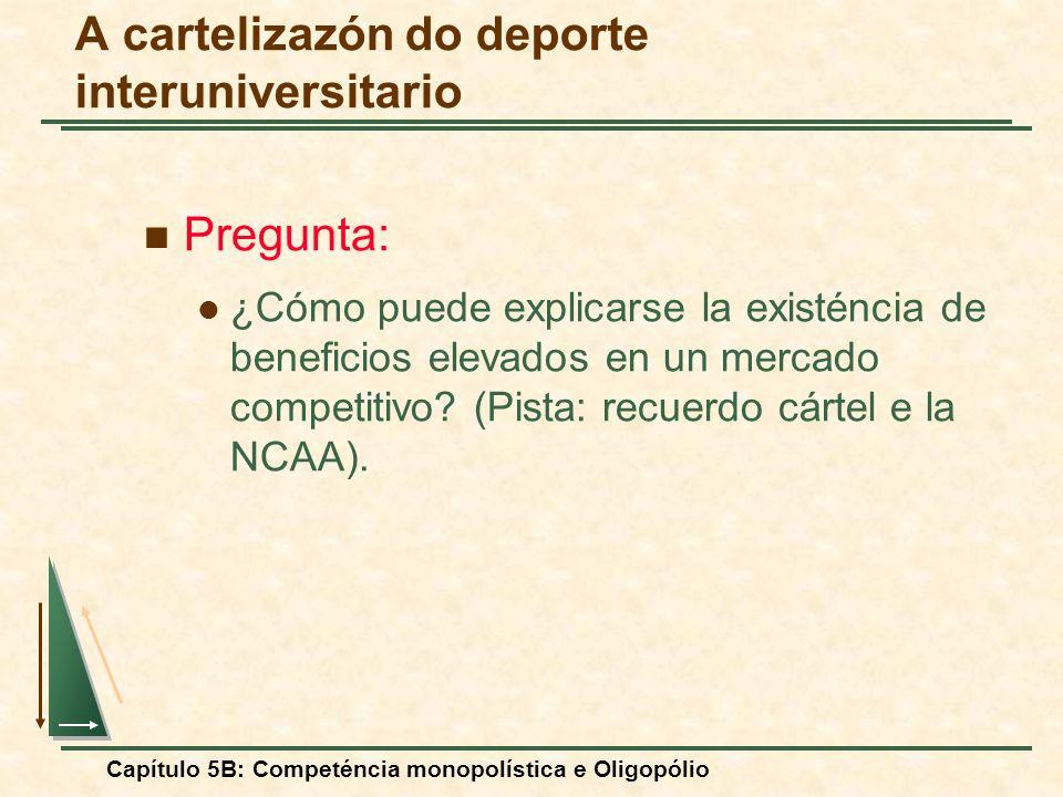 Capítulo 5B: Competéncia monopolística e Oligopólio Pregunta: ¿Cómo puede explicarse la existéncia de beneficios elevados en un mercado competitivo? (
