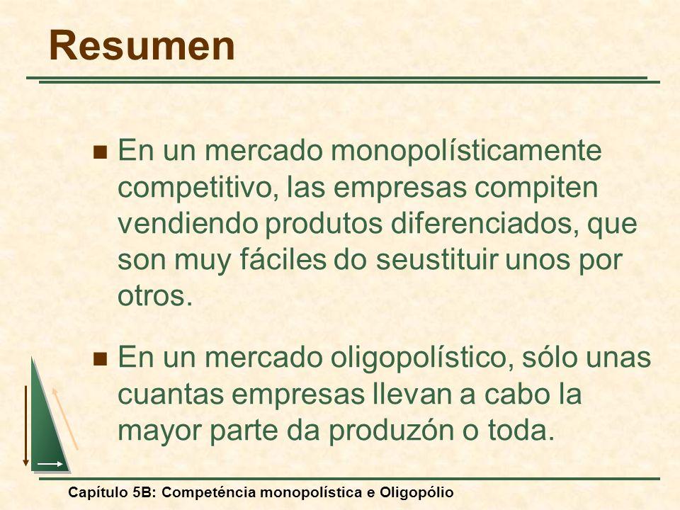 Capítulo 5B: Competéncia monopolística e Oligopólio Resumen En un mercado monopolísticamente competitivo, las empresas compiten vendiendo produtos dif