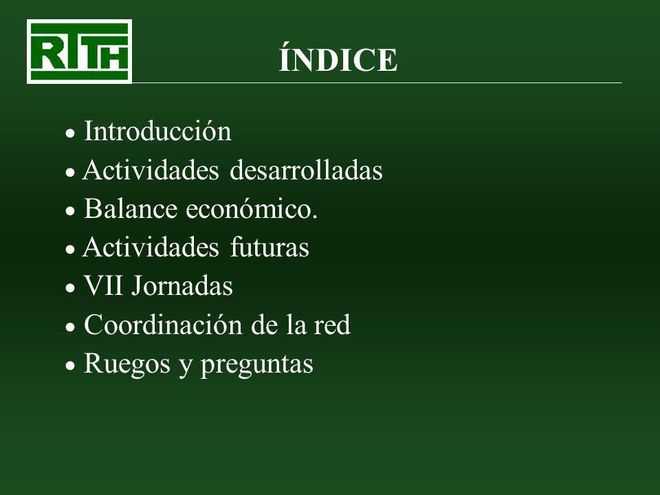 ÍNDICE Introducción Actividades desarrolladas Balance económico. Actividades futuras VII Jornadas Coordinación de la red Ruegos y preguntas