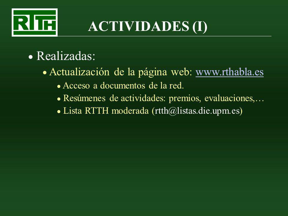 ACTIVIDADES (II) Realizadas: Colaboración con las VI Jornadas en Tecnologías del Habla de Vigo: FALA 2010 Financiación de la inscripción de los miembros de la Red (70 miembros aprox.) 4 premios a estudiantes para los 4 mejores artículos presentados a las jornadas.