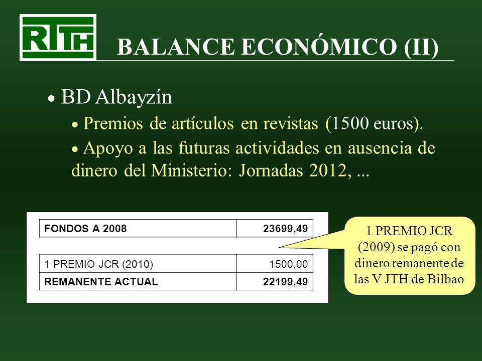 BALANCE ECONÓMICO (II) BD Albayzín Premios de artículos en revistas (1500 euros). Apoyo a las futuras actividades en ausencia de dinero del Ministerio