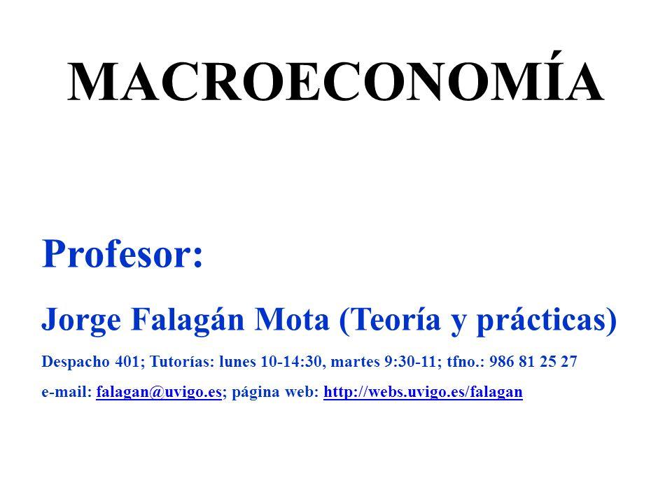 MACROECONOMÍA Profesor: Jorge Falagán Mota (Teoría y prácticas) Despacho 401; Tutorías: lunes 10-14:30, martes 9:30-11; tfno.: 986 81 25 27 e-mail: fa