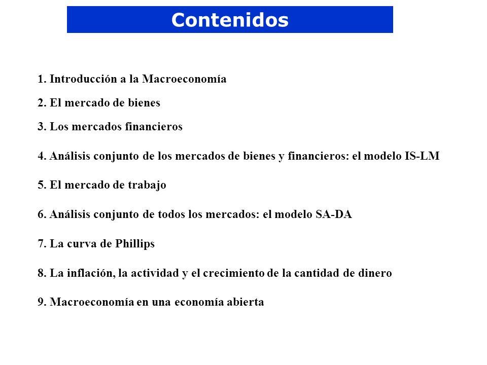 Contenidos 1. Introducción a la Macroeconomía 2. El mercado de bienes 3. Los mercados financieros 4. Análisis conjunto de los mercados de bienes y fin