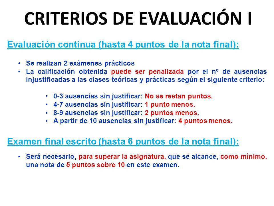 Evaluación continua (hasta 4 puntos de la nota final): Se realizan 2 exámenes prácticos La calificación obtenida puede ser penalizada por el nº de aus