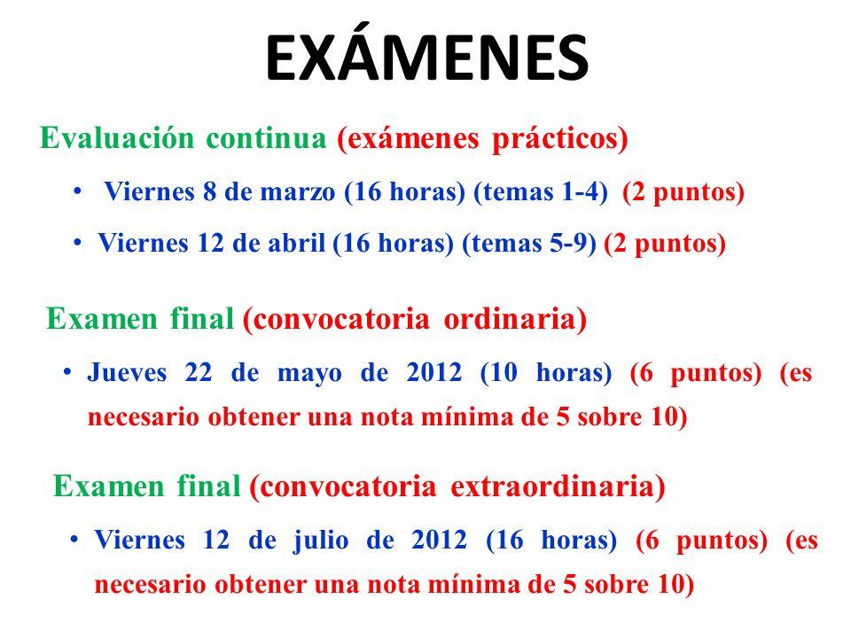 EXÁMENES Evaluación continua (exámenes prácticos) Viernes 8 de marzo (16 horas) (temas 1-4) (2 puntos) Viernes 12 de abril (16 horas) (temas 5-9) (2 p