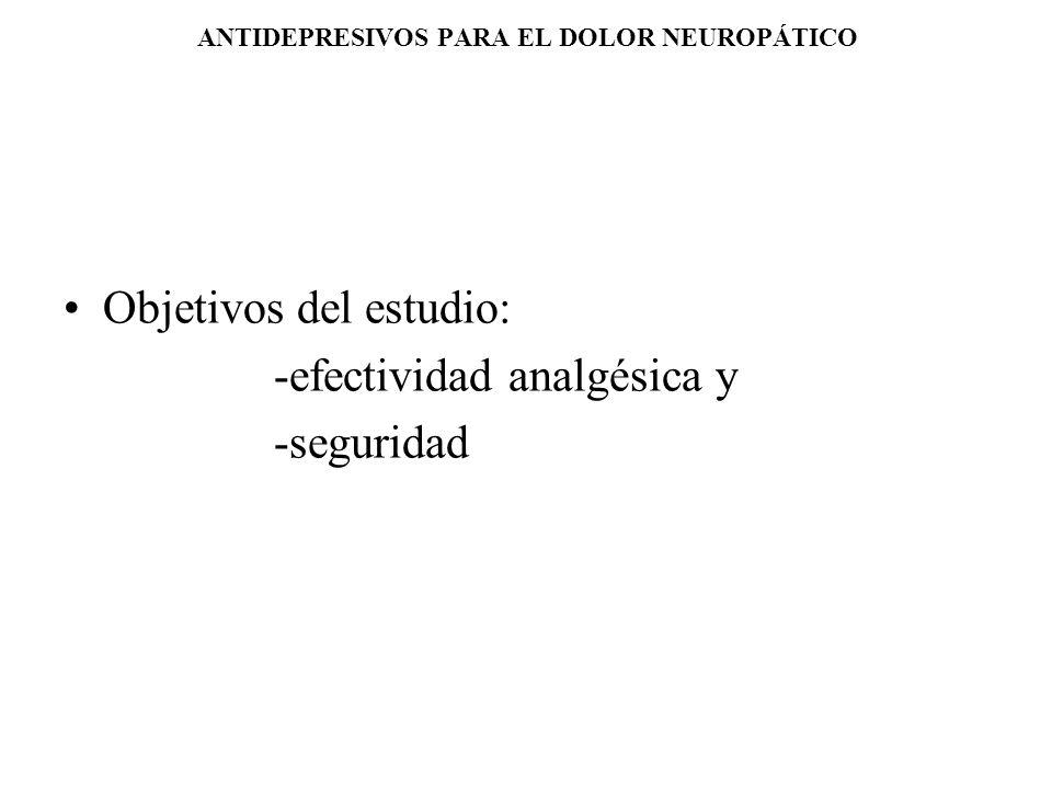 ANTIDEPRESIVOS PARA EL DOLOR NEUROPÁTICO Objetivos del estudio: -efectividad analgésica y -seguridad
