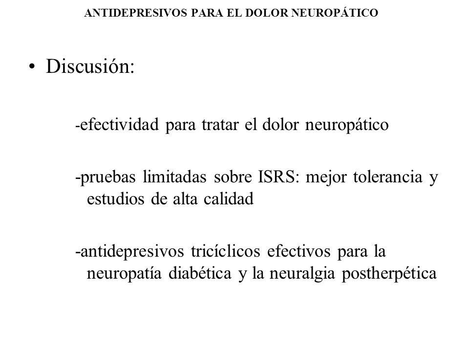 ANTIDEPRESIVOS PARA EL DOLOR NEUROPÁTICO Discusión: - efectividad para tratar el dolor neuropático -pruebas limitadas sobre ISRS: mejor tolerancia y e