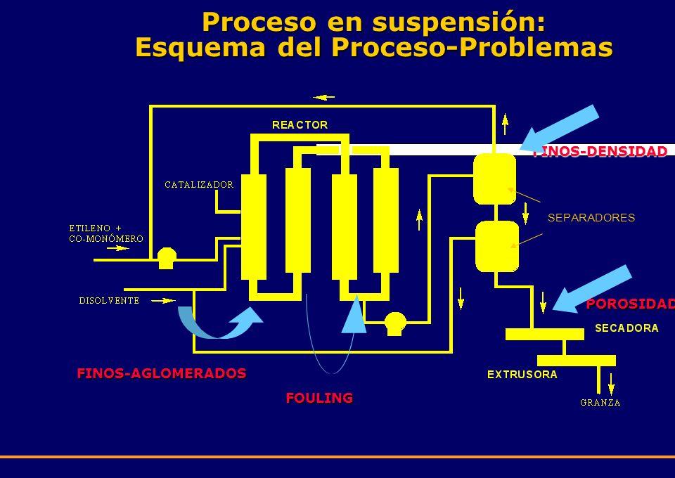 FINOS-DENSIDAD SEPARADORES FINOS-AGLOMERADOS FOULING POROSIDAD Proceso en suspensión: Esquema del Proceso-Problemas