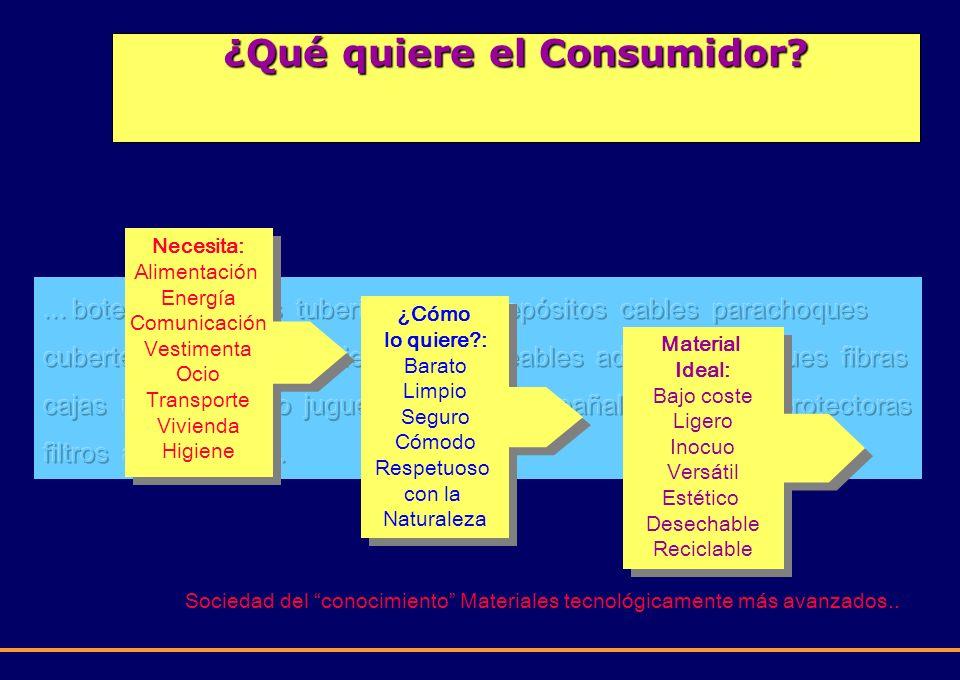 ¿Qué quiere el Consumidor? Sociedad del conocimiento Materiales tecnológicamente más avanzados.. Necesita: Alimentación Energía Comunicación Vestiment