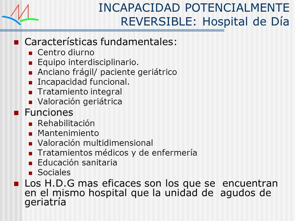 INCAPACIDAD POTENCIALMENTE REVERSIBLE: Hospital de Día Características fundamentales: Centro diurno Equipo interdisciplinario. Anciano frágil/ pacient