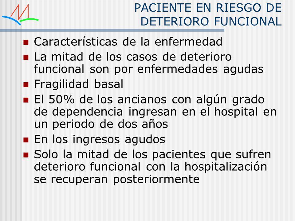 PACIENTE EN RIESGO DE DETERIORO FUNCIONAL Características de la enfermedad La mitad de los casos de deterioro funcional son por enfermedades agudas Fr