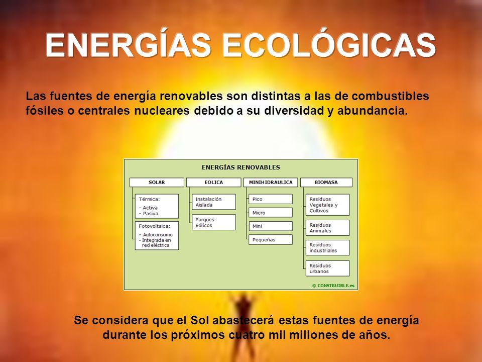 Las fuentes de energía renovables son distintas a las de combustibles fósiles o centrales nucleares debido a su diversidad y abundancia. Se considera