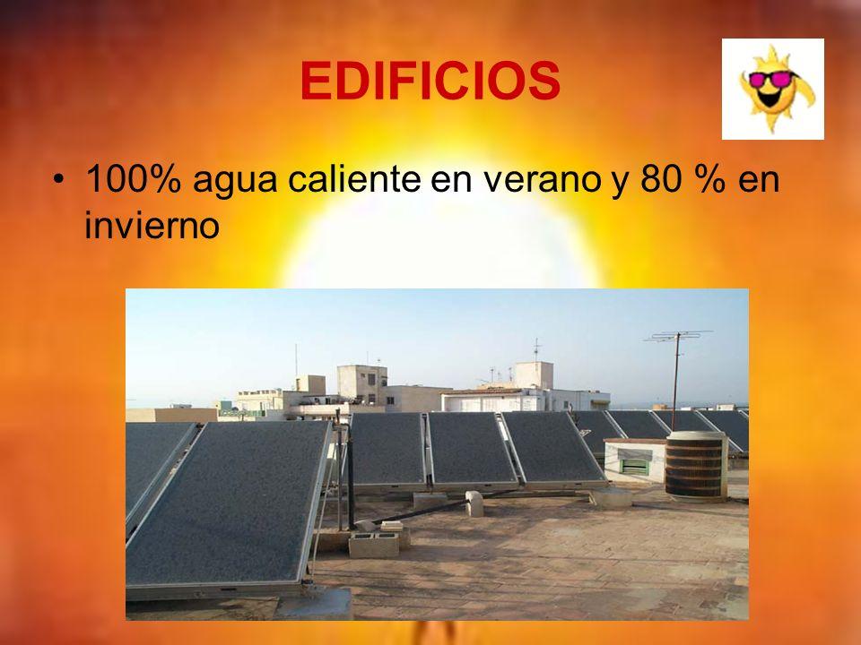 EDIFICIOS 100% agua caliente en verano y 80 % en invierno