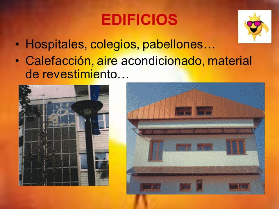 EDIFICIOS Hospitales, colegios, pabellones… Calefacción, aire acondicionado, material de revestimiento…