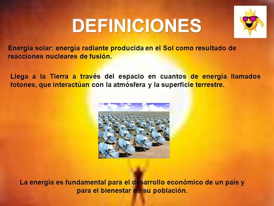 Energía solar: energía radiante producida en el Sol como resultado de reacciones nucleares de fusión. Llega a la Tierra a través del espacio en cuanto
