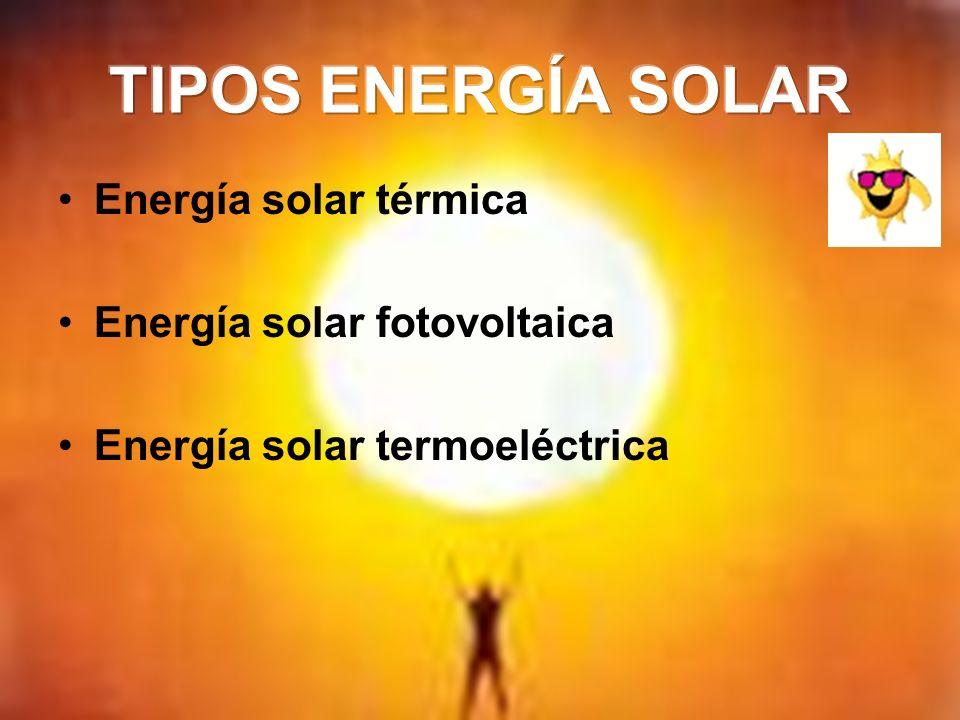Energía solar térmica Energía solar fotovoltaica Energía solar termoeléctrica