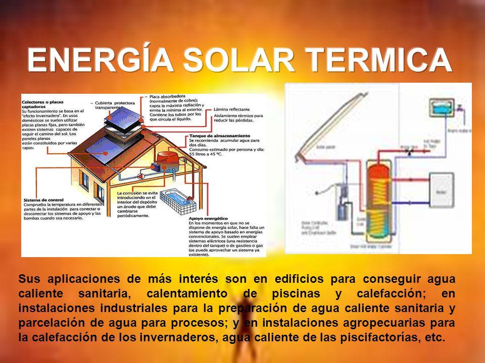 Sus aplicaciones de más interés son en edificios para conseguir agua caliente sanitaria, calentamiento de piscinas y calefacción; en instalaciones ind