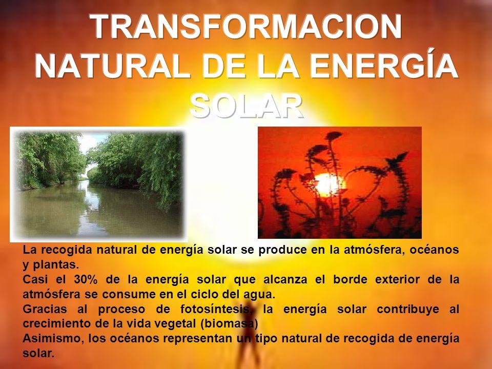 Cada celda o placa que compone el La recogida natural de energía solar se produce en la atmósfera, océanos y plantas. Casi el 30% de la energía solar