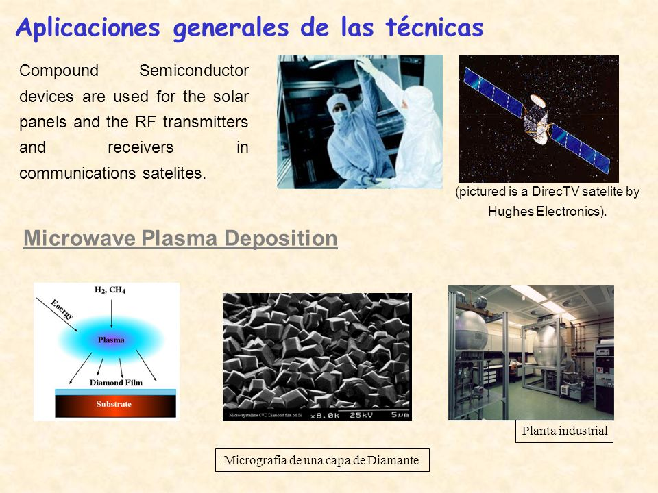 Compound Semiconductor devices are used for the solar panels and the RF transmitters and receivers in communications satelites. Aplicaciones generales