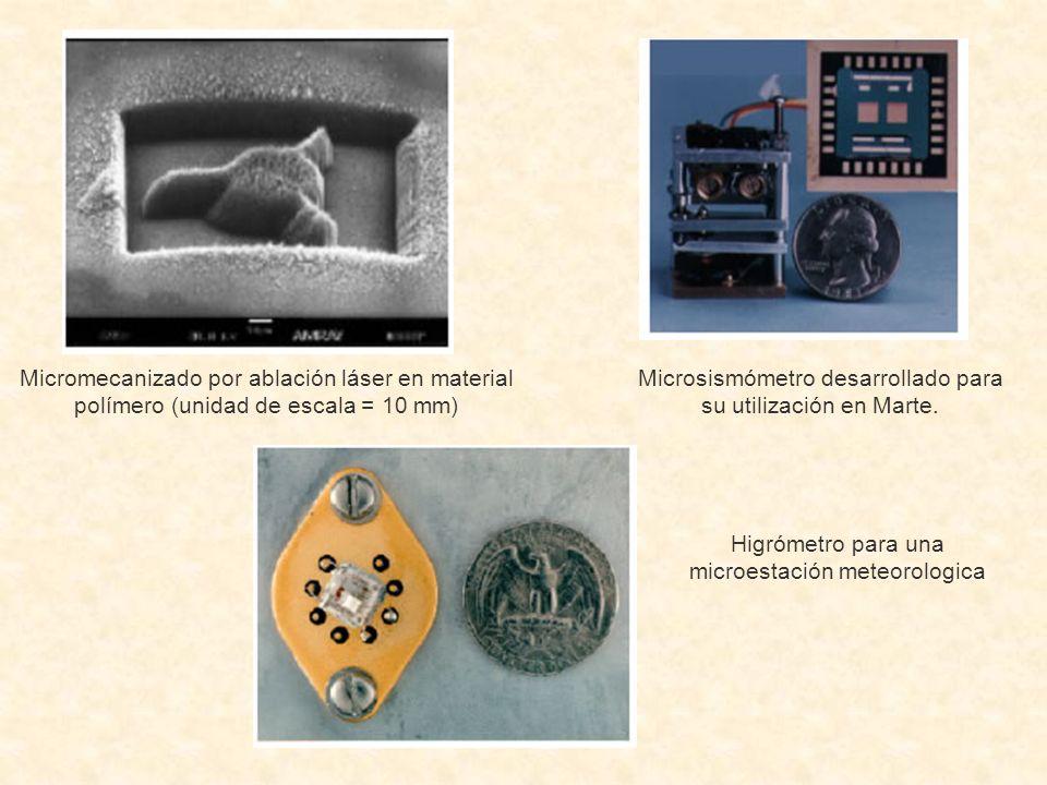 Micromecanizado por ablación láser en material polímero (unidad de escala = 10 mm) Microsismómetro desarrollado para su utilización en Marte. Higrómet