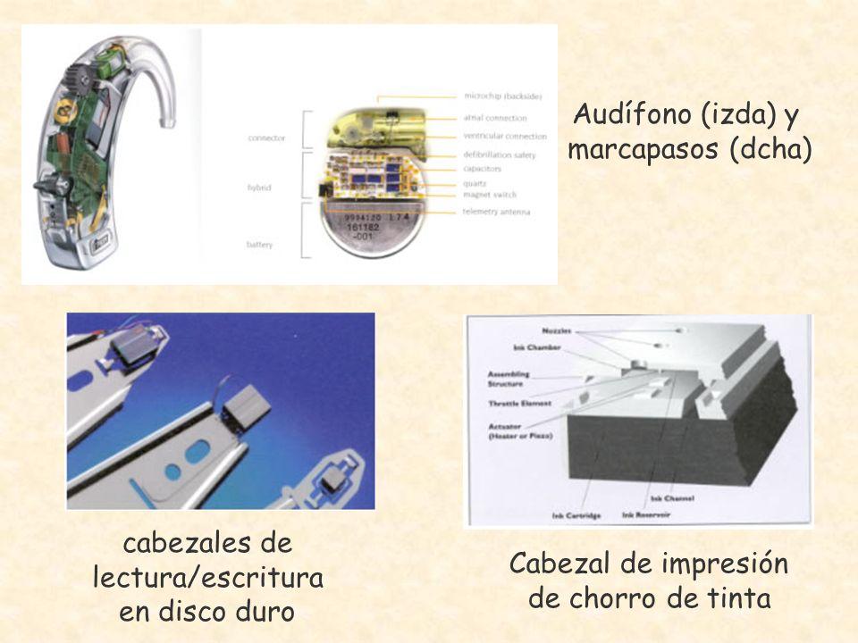 Audífono (izda) y marcapasos (dcha) cabezales de lectura/escritura en disco duro Cabezal de impresión de chorro de tinta