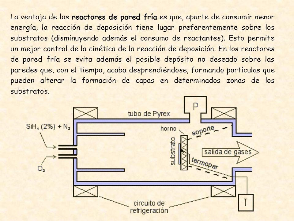 La ventaja de los reactores de pared fría es que, aparte de consumir menor energía, la reacción de deposición tiene lugar preferentemente sobre los su