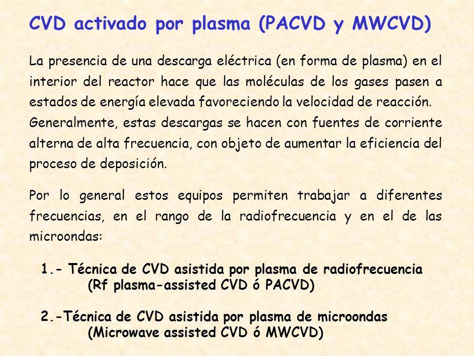 CVD asistida por plasma de radiofrecuencia Una descarga de arco a baja presión, generada a una radio frecuencia fija (450 kHz o 13.56 MHz) se utiliza para generar un plasma bien capacitivamente dentro de la cámara de reacción (caso de sistemas con electrodos paralelos) o bien inductivamente desde el exterior del reactor.