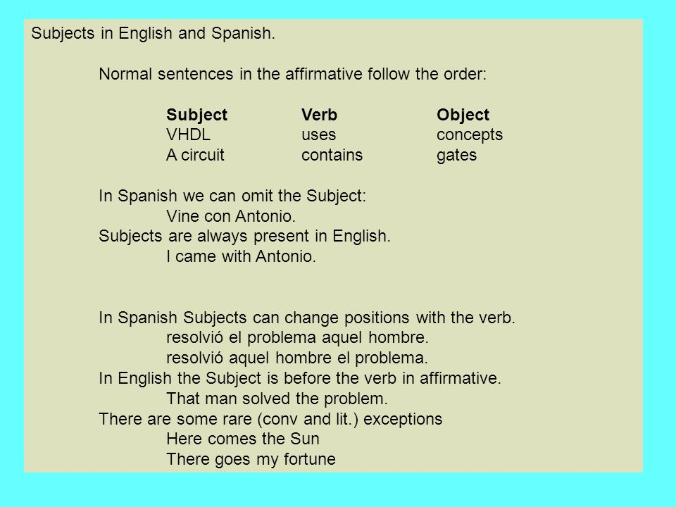 Subjects in English and Spanish.
