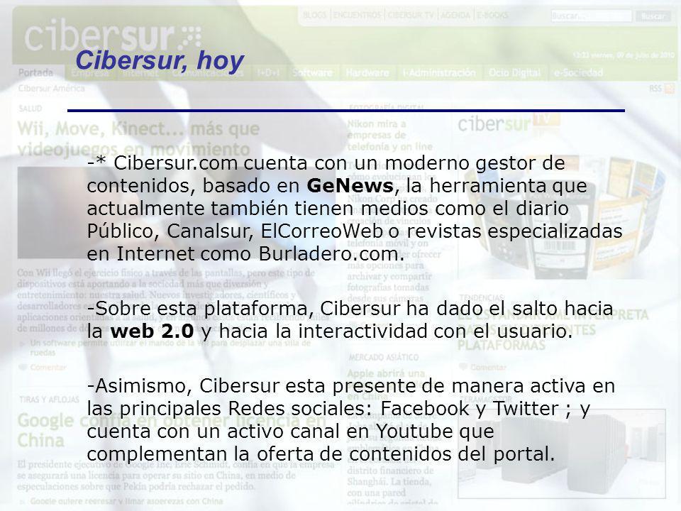 -Además en estos años, Cibersur se ha convertido en un agente dinamizador de la Sociedad de la Información con la puesta en marcha de iniciativas de valor añadido como: jornadas (Encuentros e-TIC), galardones (Premios a las Mejores Webs Andaluzas), congresos (presencia en los principales congresos y eventos TICs que tienen lugar en España)… Cibersur = Nexo de unión entre los distintos agentes de la innovación y la tecnología que confluyen en Andalucía.