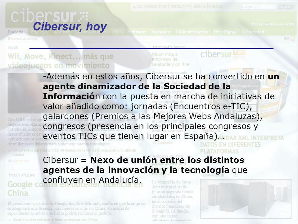 -Todo este valor añadido y nuestra experiencia como medio de comunicación sostenible durante una década ha hecho que desde Cibersur nos hayemos inmersos en un ambicioso proyecto de internacionalización, con el apoyo de Extenda: Ser un medio TIC de referencia en habla hispana.