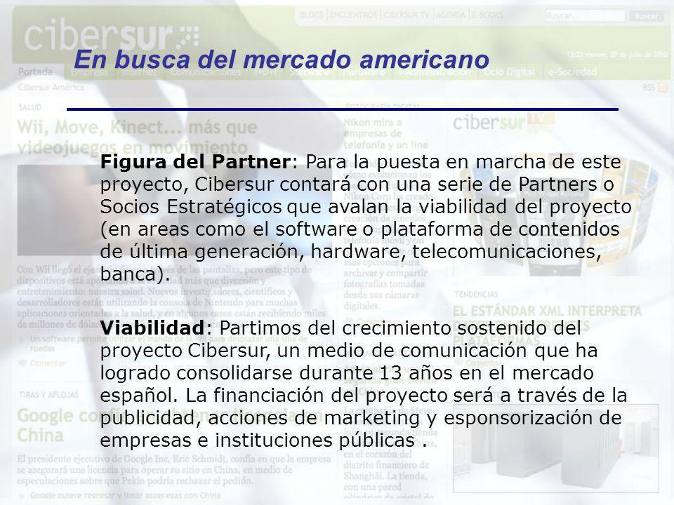 En busca del mercado americano VISITAS A CIBERSUR.COM DURANTE 2010, SEGÚN LOS PRINCIPALES LUGARES DE PROCEDENCIA (nos visitan diariamente desde 128 países) España 43,6% Estados Unidos 9,7% México 11,5% Argentina 10,4% Colombia 3,9% Chile 3,2% Perú 2,9% Portugal 2,6% Venezuela 2,2%...
