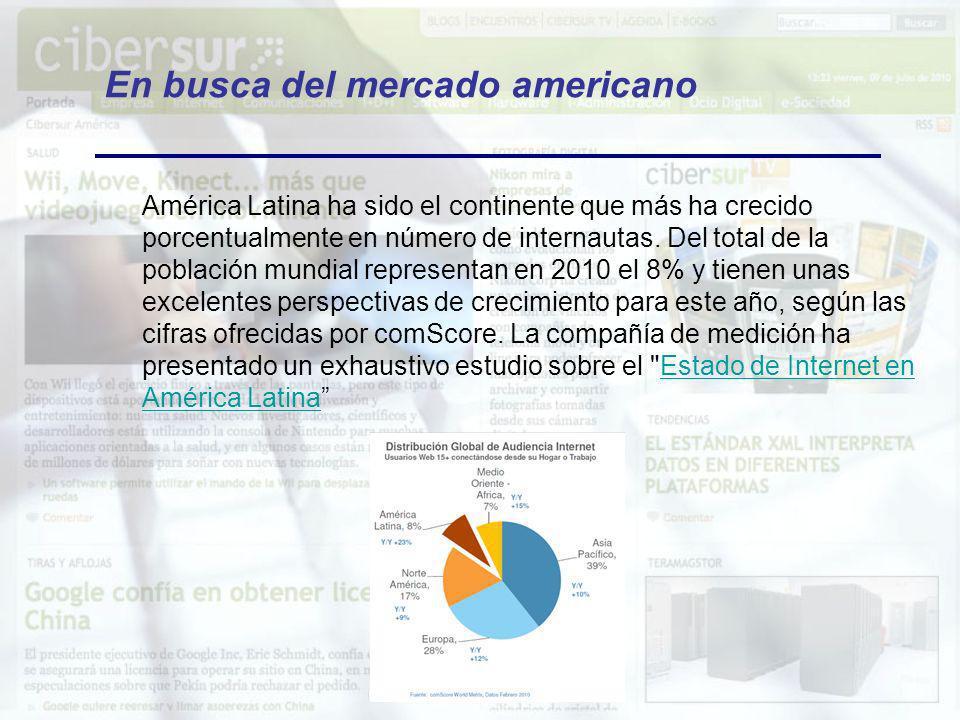 En busca del mercado americano América Latina ha sido el continente que más ha crecido porcentualmente en número de internautas. Del total de la pobla