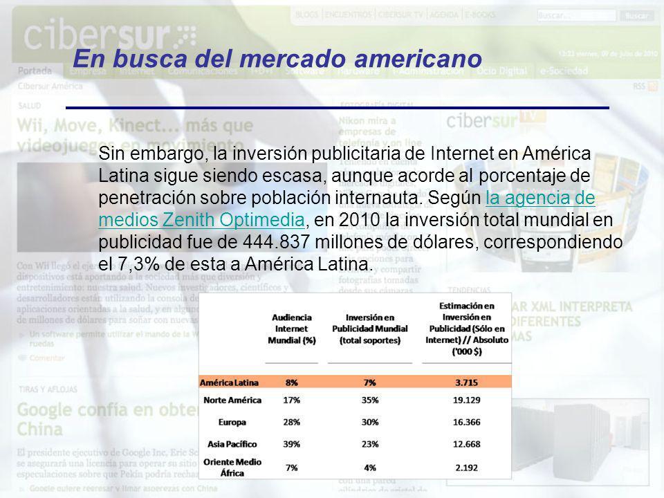 En busca del mercado americano Sin embargo, la inversión publicitaria de Internet en América Latina sigue siendo escasa, aunque acorde al porcentaje d