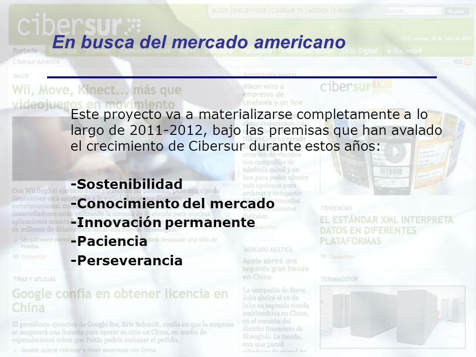 En busca del mercado americano Este proyecto va a materializarse completamente a lo largo de 2011-2012, bajo las premisas que han avalado el crecimien