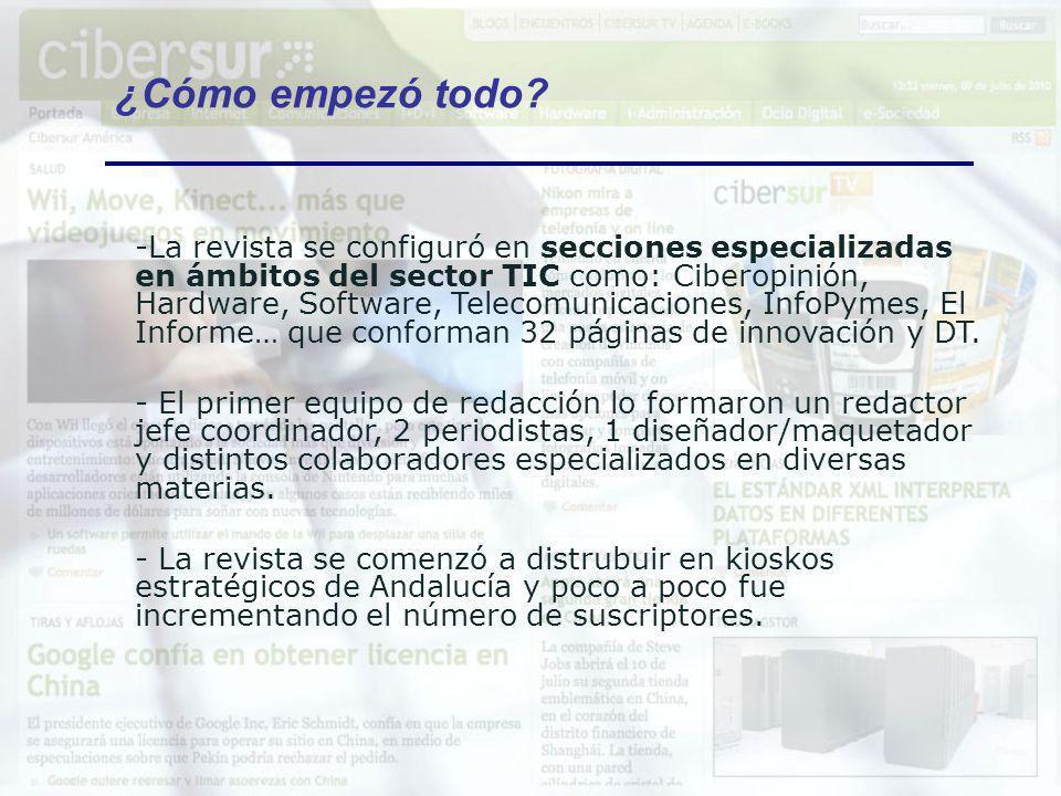 -La revista se configuró en secciones especializadas en ámbitos del sector TIC como: Ciberopinión, Hardware, Software, Telecomunicaciones, InfoPymes,